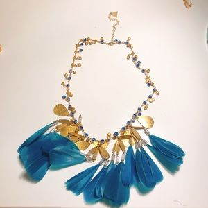 Anthropologie turquoise feather necklace